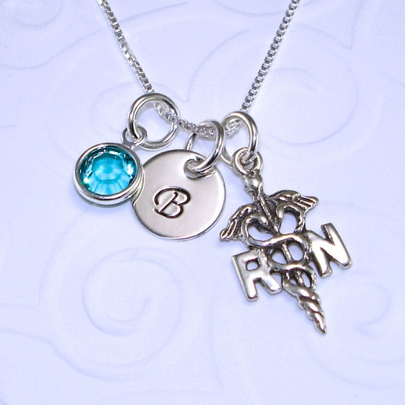 nursing student gift personalized initial necklace