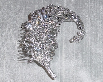 Rhinestone Wedding Hair Comb Feather Leaf Accessory Bride or Bridesmaid