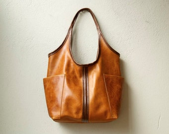 soft leather tote ACCESS TOTE  in veg tanned leather - rugged leather tote - leather shoulder bag - free shipping