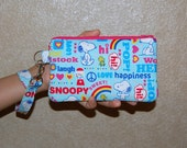 Wristlet Purse with Removable Strap and Interior Pocket - Handcrafted from SNOOPY Love and Happiness Fabric