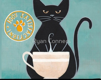 Black Cat Brews Coffee Cat - Cat Folk Art Print 8x10, 11x14
