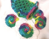 Crocheted Eye makeup Remover Set, with Face Scrubbies and Drawstring Pouch, Cotton Brights