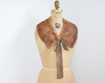 Restyled Mink fur scarf with satin ribbon