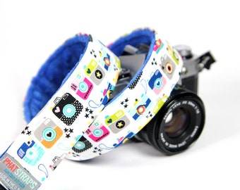 Snapshot Camera Strap with Cobalt Minky