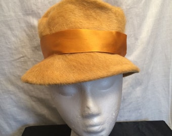Vintage 1960's Gold Mohair Melinda Original Bucket Hat