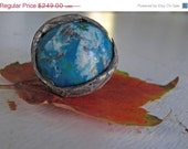 SpRing Sale google earth eco silver ring chrysocolla white quartz recycled fine silver big ring size 8