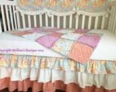 Custom Scalloped Crib Rail Cover Tier Ruffled Shabby Chic Aqua Blue Floral & Peach w/ Linen Boutique Crib Bedding Set MADE To ORDER