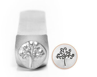 BIG Design Stamp - TREE of LIFE - 9.5mm stamped image by ImpressArt -  includes How to Stamp Metal tutorial