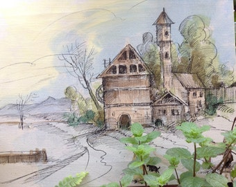 VINTAGE ART...painting drawing coloring ~ 16 x 12 ~ country church ~ office decor ~rustic wedding ~ home