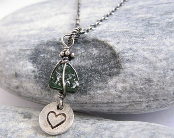 Green Apatite Necklace, Rough Apatite, Gemstone Pendant, Stamped Heart Charm, Oxidized Sterling Silver, Crystal Healing Jewelry