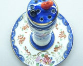 Vintage Limoges, Limoges China, Hat Pin Holder, Hand Painted, 2 Glass Hat Pins