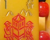 large amber bakelite  Mah jong Bracelet Jan Carlin