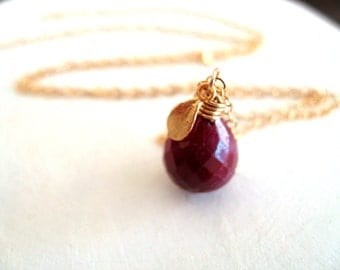 Red Ruby Necklace Botanical jewelry wife girlfrienc fiancee Under 65 Vitrine Love Anniversary Leaf charm