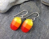 Summery Earrings in Yellow, Orange and Red. Fused Glass Earrings. Fused Glass Jewelry. Everyday Jewelry. Modern Glass Jewelry. Made in TX.