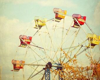 Vintage Ferris Wheel Photo, Carnival Photography, nursery wall art, blue & yellow, red, kids room decor