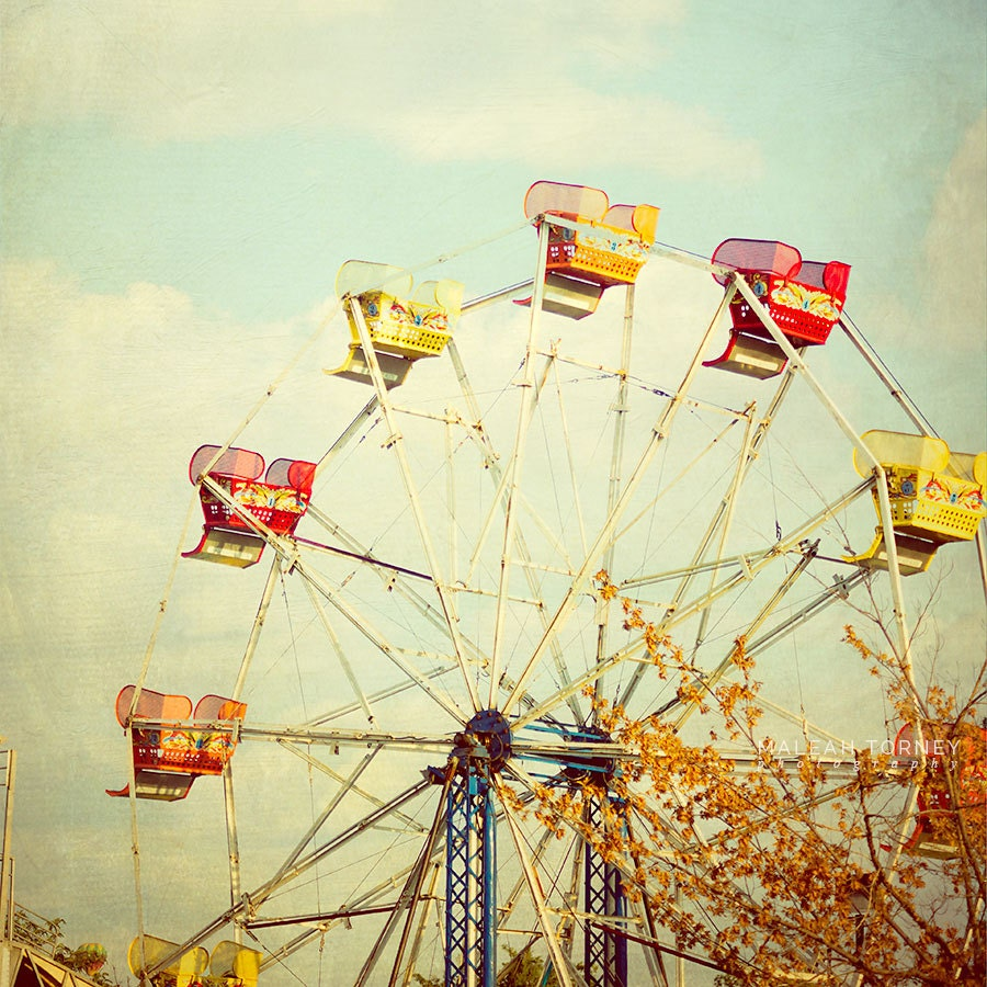 Vintage Ferris Wheel Photo Carnival Photography by ...