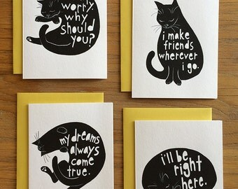 Black Cat Ink Drawing Greeting Cards – Set of Four