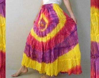 Purple Yellow Orange Tie Dye Cotton Elastic Waist Patchwork Long Summer  Beach Skirt S-L (EL 04)