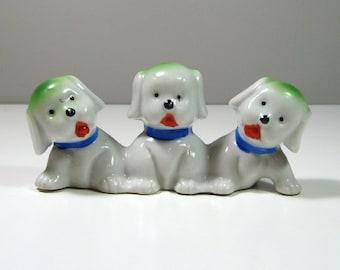 Cute Vintage Ceramic Puppy Dog Trio Made in Japan 1940's