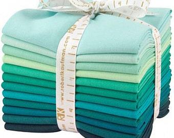 Robert Kaufman Kona Cotton Solids LUSH LAGOON Fat Quarter Bundle 12 Precut Cotton Fabric Quilting FQs FQ-922-12