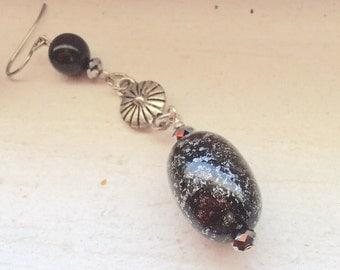 Black  and Silver Dangling Earrings