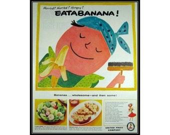 Eatabanana Cute Chiquita Banana Woman Wall Art Decor E101