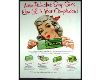Palmolive Woman Powder Room Wall Art Decor E102