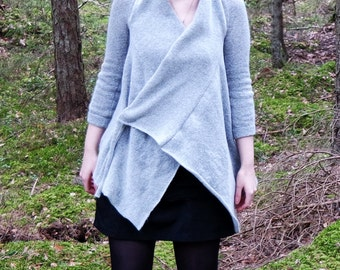 Gray cardigan, asymmetrical 3/4 sleeve sleeve cardigan, gray cardigan, hippy cardigan, boho jumper, fantasy cardigan MASQ