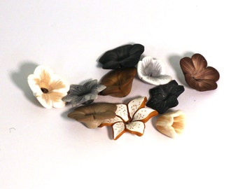 Neutral Flower Mix, Polymer Clay Beads, Brown, Black and White Beads, 10 pieces