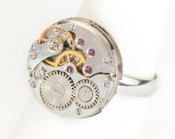 Steampunk Silver Ajustable Ring with Round Vintage Watch Movement by Velvet Mechanism