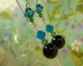 earrings Blue Tiger Eye and Crystals