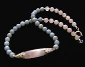 Rose Quartz Blue Calcite Sterling Silver Necklace Handmade, gorgeous pastels, Nepalese Tibetan Tribal rustic bohemian unique Jewelry