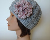Light Gray Textured Beanie Cap with Fabric Flower - Wear it Two Ways!
