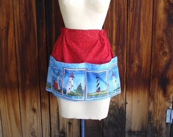 The Gracie Apron in Lighthouse Print with Four Pockets Across Front READY TO SHIP