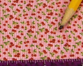 Dollhouse Miniature UPHOLSTERY FABRIC Apparel Cherries on Pink Gingham 1/12 1/24
