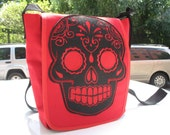 Sugar Skull Canvas Courier bag, Red Canvas Messenger Bag, Cross Body Shoulder Bag, Day bag