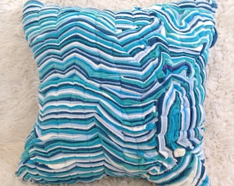 Fiber art ocean floor chevron waves and water abstract art home decor throw pillow cover 14x14