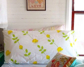Vintage KING pillowcases set yellow floral rose