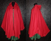 Long Red GYPSY PRINCESS CAPE Medieval Gothic Peasant Hoody Cloak Plus Size 1x 2x 3x 4x 5x little red riding hood