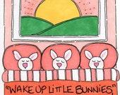 "Original Illustration - Folk Art - Cute Whimsical - 3"" x 4"" - ""Little Bunnies"""