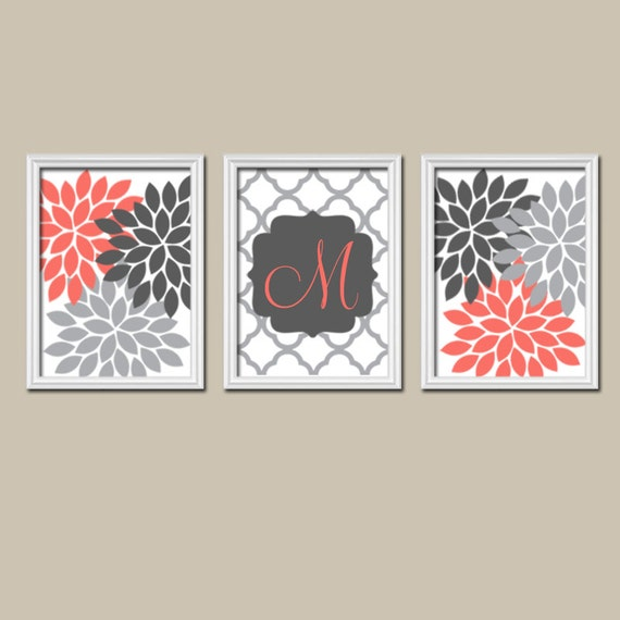 Name In Lights Wall Decor : Coral Gray Monogram Family Name Monogram Baby Girl by TRMdesign