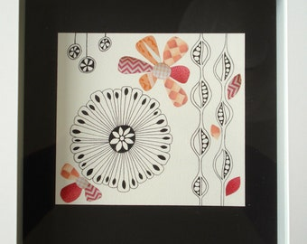 Original Collage and Drawing - Flowers and Peapods - Shades of Coral and Salmon