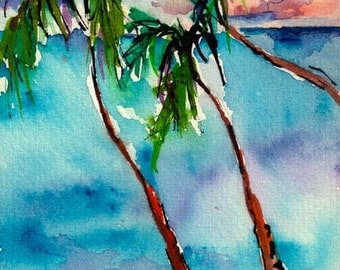 Palms and Pink Sand Small Watercolor ORIGINAL Painting by Ginette
