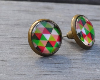 Geometric Earrings, Colourful Triangles, Antique Brass, Hipster Diamond, Stud Earrings, Post Earrings, Glass Cabochon, Lapin du Printemps