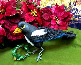 Magpie Soft Sculpture Bird, Crow Decoration, Raven,ChristmasDecoration,