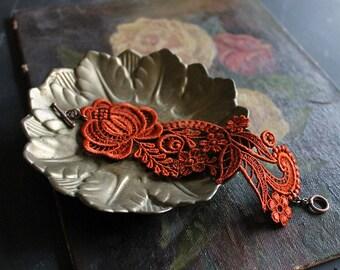 copper lace bracelet,  lace cuff,  RHEA, wedding jewelry, statement bracelet, unique jewelry, feminine jewelry, bridesmaid jewelry