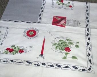 Vintage Mid Century House Plant Motif Tablecloth Startex