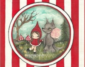 Little Red Riding Hood Print Cute Carnival Big Bad Wolf Cotton Candy Wall Art 8 x 8