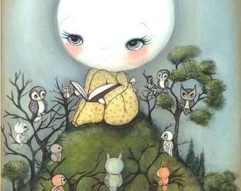 Owl Print Cute Moon Story Children Nursery Wall Art ---Moonlit Stories