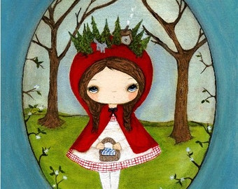 Fairy Tale Print Little Red Riding Hood Wolf Forest Nursery Wall Art